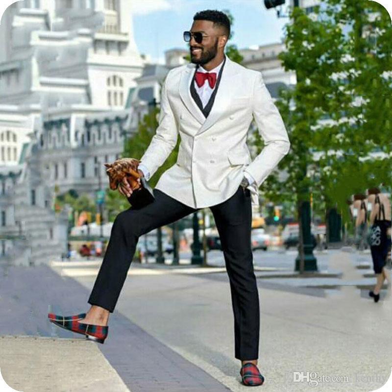 Ivory Men Suit Man Blazers 3Piece Peaked Lapel Double Breasted Groom Jacket Tuxedo Groomsmen Coat Black Pant Designs Slim Fit Costume Homme