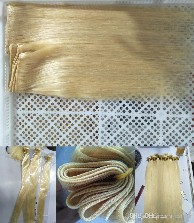 Virgin Remy Human Hair Extensions Bleached Blonde Color #613 Full Head 100Gr one piece & 3Pcs Lot, Free DHL
