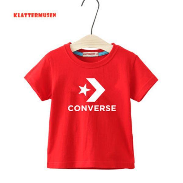 Yeni Yaz marka 1-9 yıl Kids'Short Kol Tişört% 100 Pamuk Boys kız yaz Çocuk Giyim M002 Saf Baskılı kısa kollu