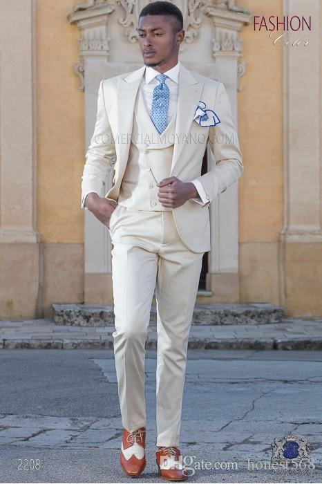 Guapo Un botón Groomsmen Pico Solapa Novio Tuxedos Trajes de hombre Boda / Baile de graduación / Cena Best Man Blazer (Chaqueta + Pantalones + Corbata + Chaleco) A391