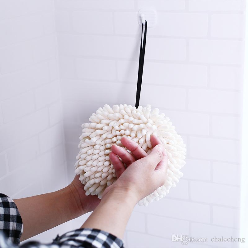 Serviette main Cuisine Salle de lavage Hanging Handball Wipe Mouchoir Serviettes eau forte absorption Rag