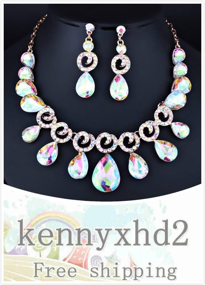 Dinner Jewellery 2020 lady Korean Crystal Glass Drop Necklace Earrings two piece bridal wedding diamond crystal set