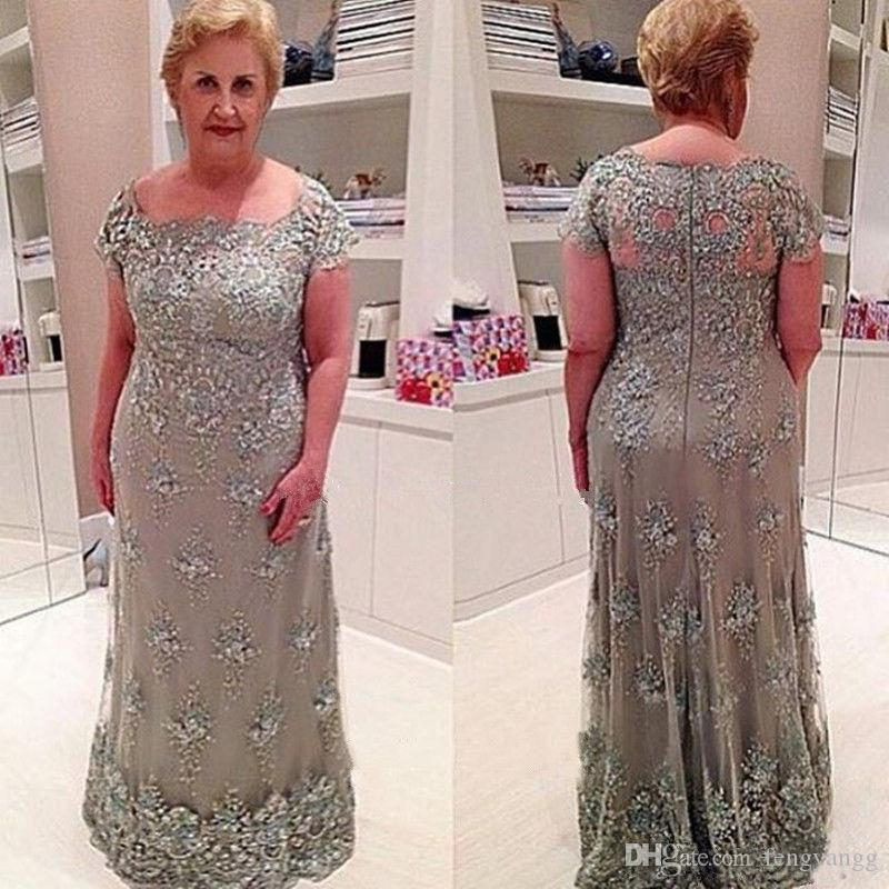 Elegant Scoop Mother Of The Bride Dress Lace Appliques Mother\u0027S Dress For  Wedding Short Sleeves Evening Dress Floor Length Prom Gowns Formal Mother  Of