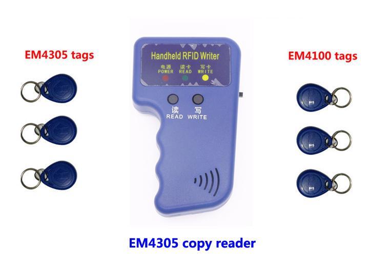 Leitor copiadora portátil RFID, 125 Khz dispositivo duplicado ID Card Copy write, 3pcs copiado EM4305 + 3pcs EM4100, min: 1pcs