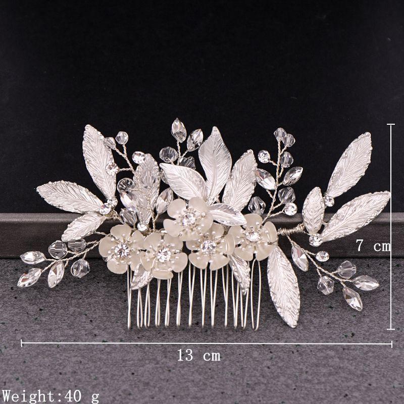 NPASON 2020 Silver Leaf Flower Hair Comb Bridal Hair Accessories Flower Wedding Hair Comb Head Accessories For Bride Tiaras