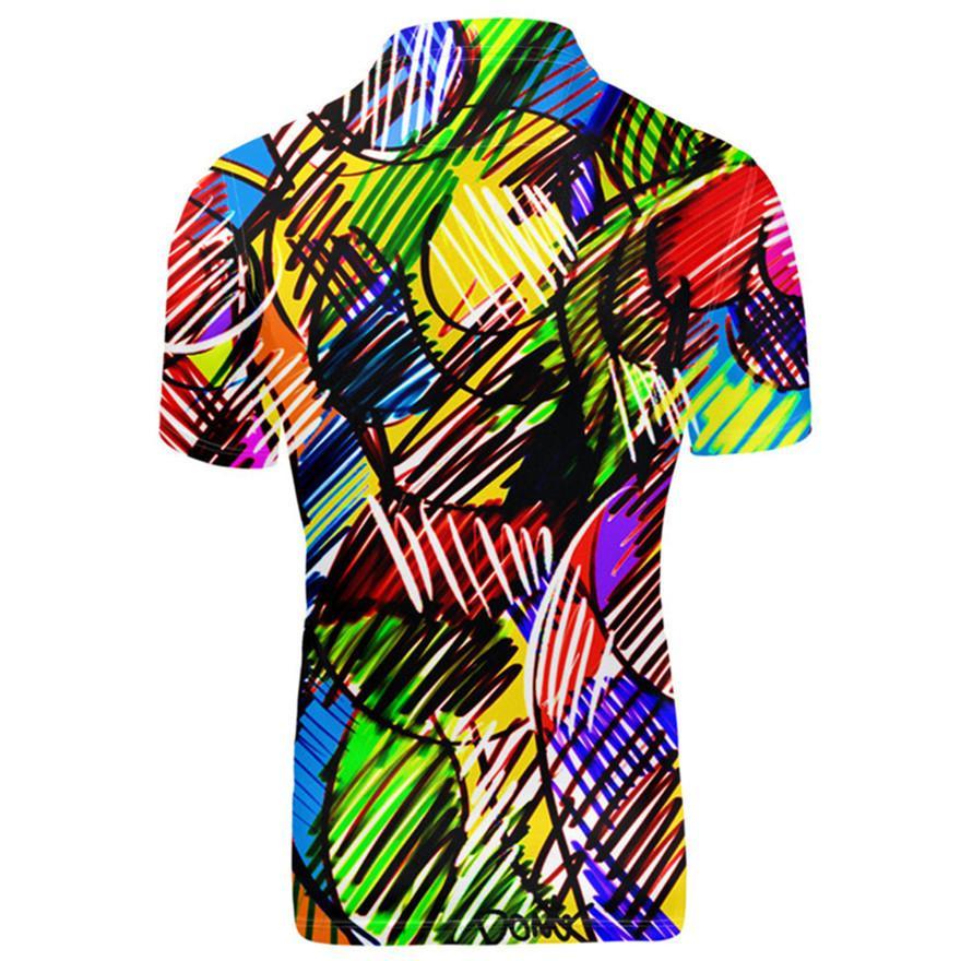 شركة بيع جديدة مزخرفة التصميم Lapel مخططة T - Shirt Short Short Short Floral Slee mens Basic Top Oversize
