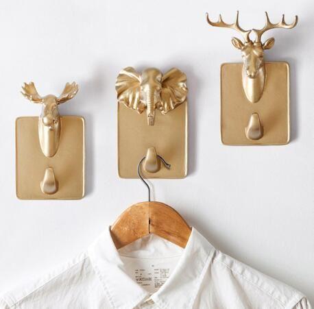 Gancho adhesivo animal creativo europeo personalidad gancho para colgar en la pared gancho de baño gancho de llave multifunción