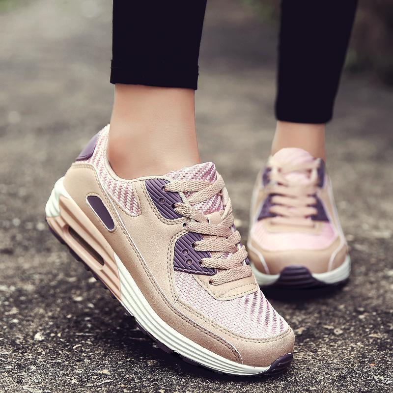 Zapatos corrientes de las mujeres de Nueva otoño Rosa mujeres zapatillas de deporte respirable con cordones de zapatos de la señora de la aptitud Sapato tamaño feminino 35-40 C8170