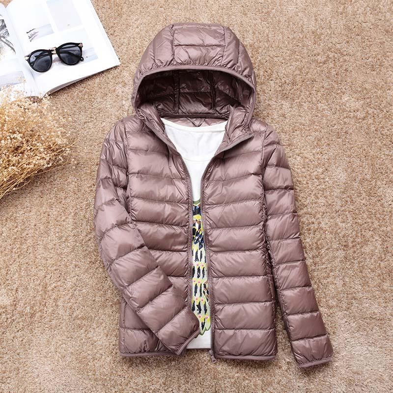 Winter Warm Ultra Light Female Duck Jacket Women Down Denim Coat with Bag Women Thin Hooded Autumn Jackets Coat Outerwear Slim
