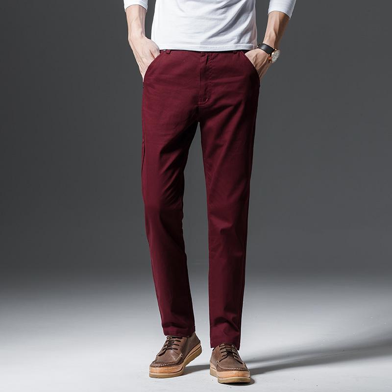 2019 Novo Design Casual Calças Dos Homens de Algodão Calça Magro Calças Retas de Negócios de Moda Cáqui Sólida Calças Pretas Homens Plus Size 38