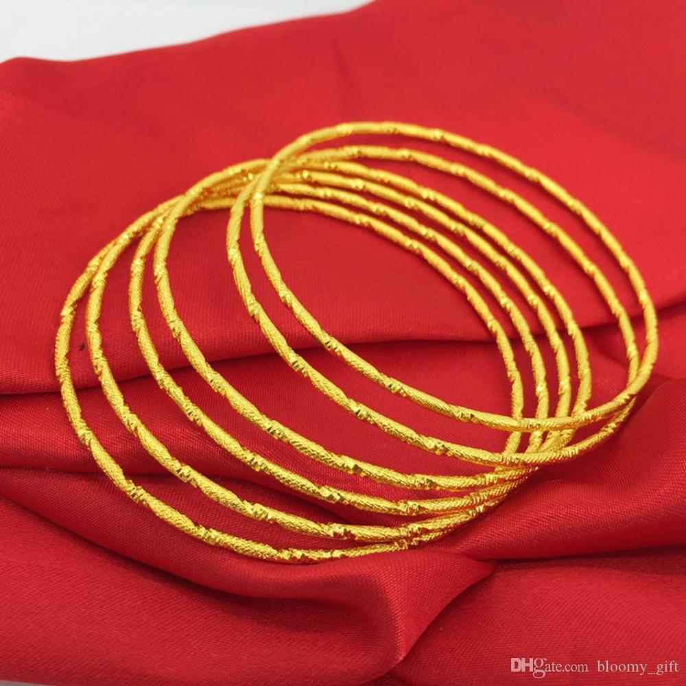 6 pezzi sottili braccialetto oro giallo 18k riempito 60 millimetri braccialetto delle donne fascino classico gioielli di moda Dia