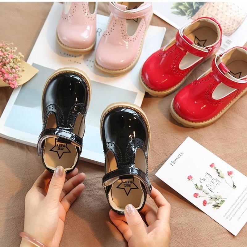 الرجعية جلد ناعم بنات طفل أحذية أطفال بنات جولة تو شقة المطاط الأطفال بنين الاحذية # 20