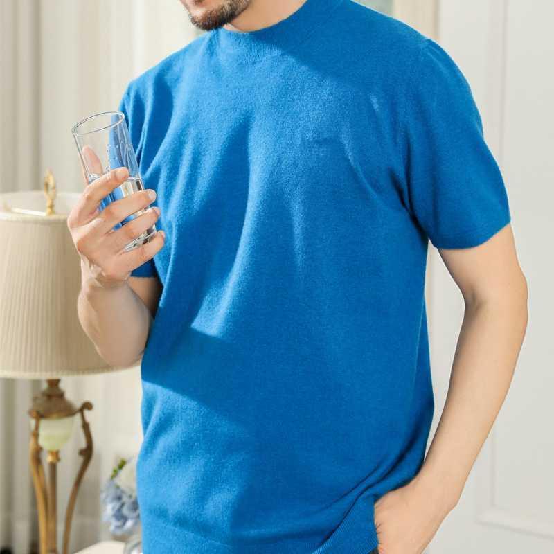 Manga corta FRSEUCAG petan en hombres de los productos ocasional sólida del color de punto de cuello redondo suéter tendencia de la moda de lana Suéter