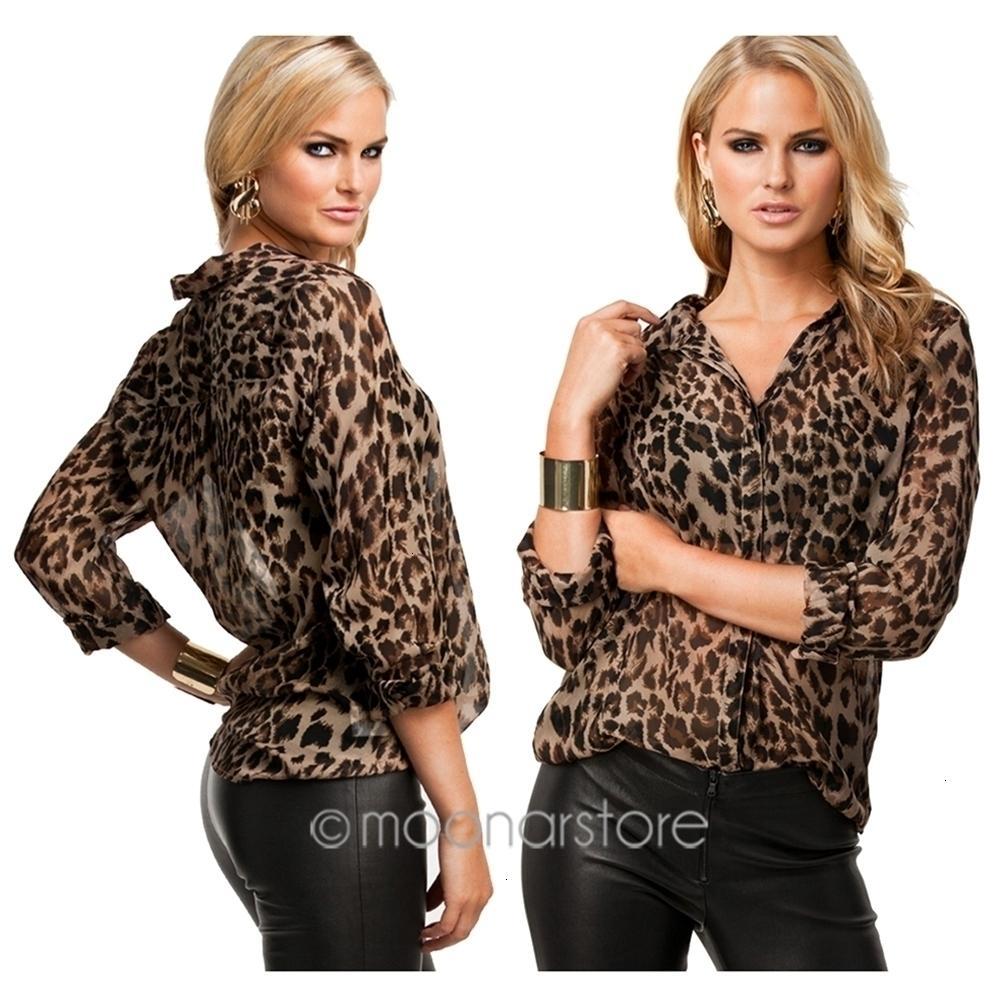 Designer Blusa Mulheres New Mulheres Selvagem Leopard Print Blusa Chiffon Lady Sexy camisa de manga longa soltas V Neck Blusa Leopard