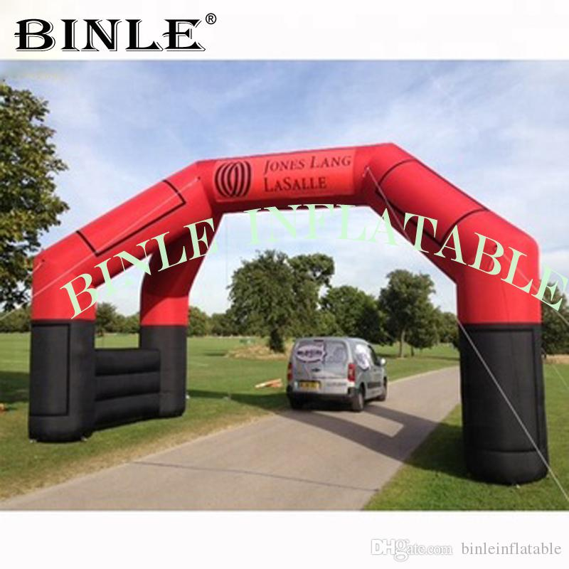 pubblicità free standing 4 gambe a sezione quadrata arco gonfiabile con adesivi rossi porta ad arco arco gonfiabile gara per lo sport