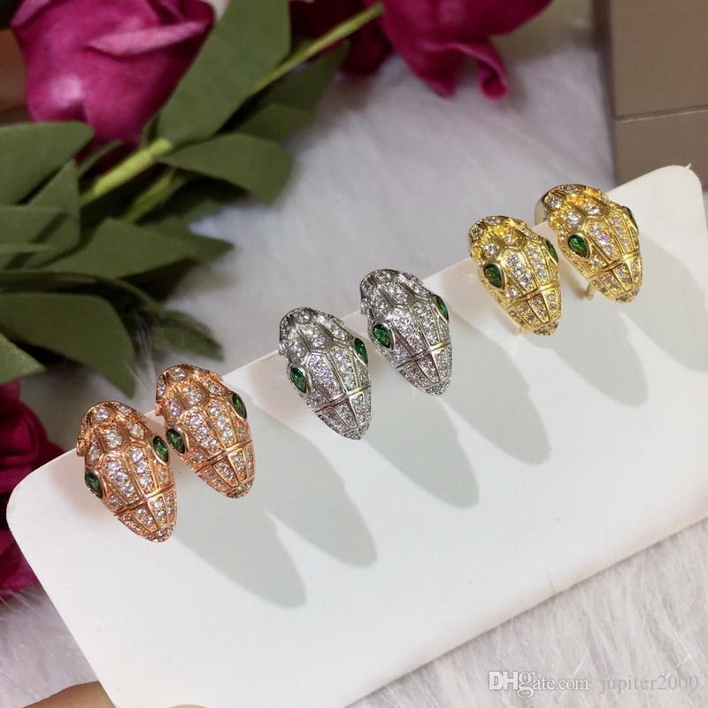 Europa América Hot Venda Moda Lady Mulheres latão banhado a ouro 18K Configuração completa diamante Olhos Verdes Cabeça da serpente brincos da orelha clipe