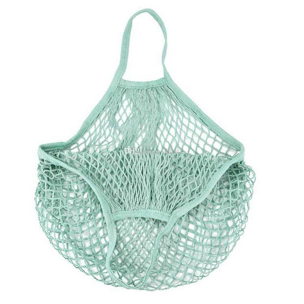100pcs Sac Mesh Net Shopping Bags Fruits légumes Portable Pliable ficelle de coton réutilisable Tortue Sacs fourre-tout pour la cuisine Mêle