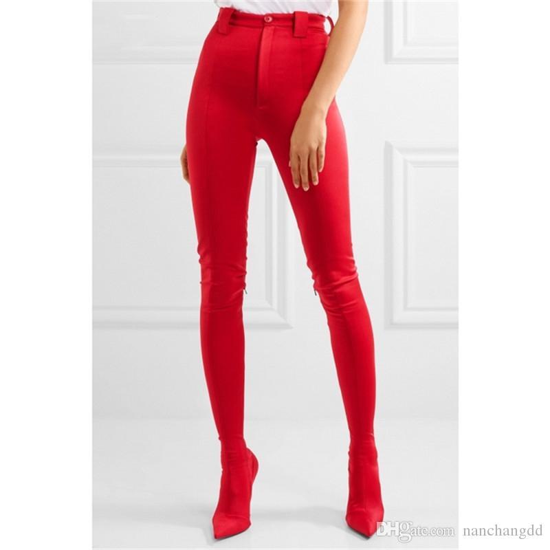 Сексуальная женская Европа Мода Сапоги Срезы Женский Большой Размер Обувь Стелето Каблук Эластичные Носки Ботинки Два в одних штанов