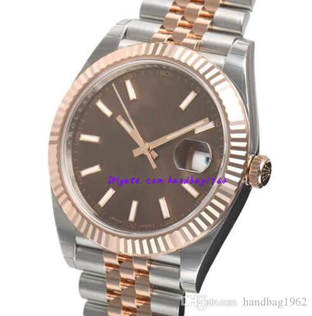 regalo de Navidad los hombres de certificado original de la caja del reloj de acero de 41 mm 126331 hombre Rosa Índice de chocolate oro marca