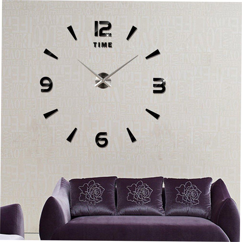 Full Number Sticker Diy Needle Quartz Wall Clocks For Home Living Room UK