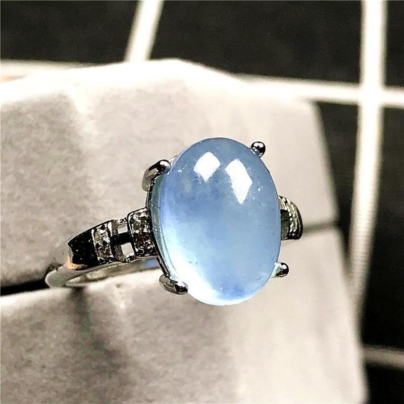 11x9mm Natural Ocean Blue Aquamarine Beads Ring For Woman Man Crystal Beads Silver Stone Adjustable Ring Fashion Jewelry