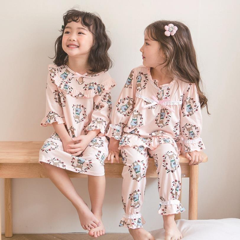 estilo coreano Novas roupas nightgowns algodão sleepwear baby girl primavera moda outono impressão crianças para casa 2-10Y ws255 CJ191202