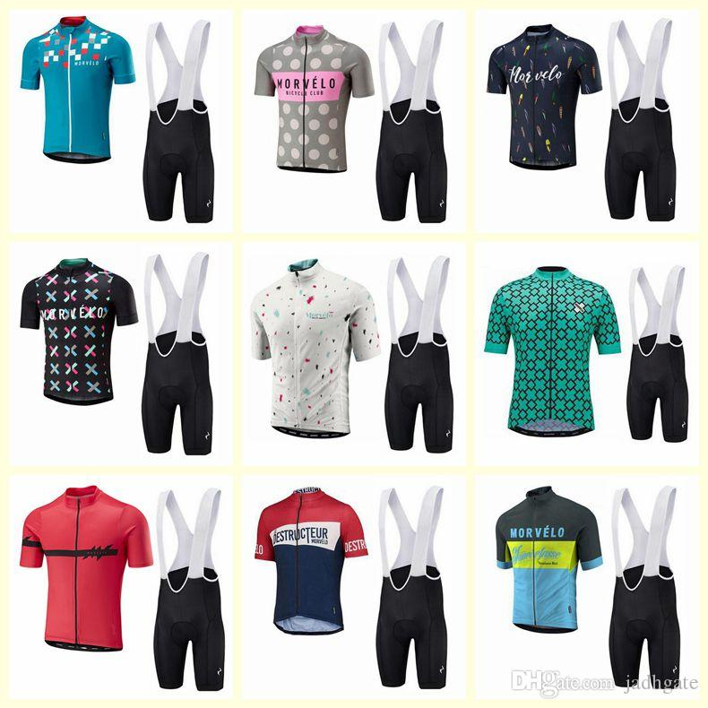 Morvelo team Cycling Short Sleeves jersey bib shorts sets new clothes summer mens Breathable Quick Dry sportswear U20031301