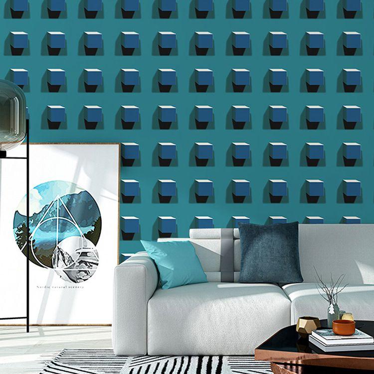 Mavi ve siyah Modern Soyut Geometrik duvar kağıdı Üçgenler Desen Duvar Kağıtları Ev Dekorasyonu İçin Salon Yatak odası