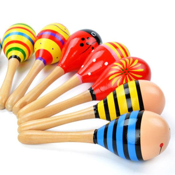 Colorful Wooden Maracas Toys Orff Musical Instruments Baby Wood Rattle Sand Hammer Preschool Exercise Auditory Toddler Cartoon Color Pattern