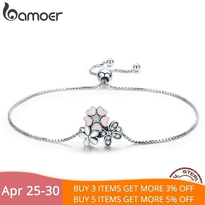 Bamoer Moda Yeni% 100 925 Gümüş Kiraz Papatya Çiçek Zincir Link Kadınlar Bilezik Gümüş Takı Hediyelik Scb055 J 190.430
