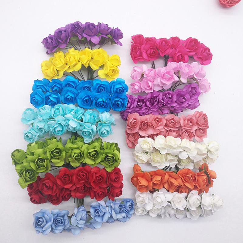 72 Unids / lote 2 cm de Diámetro de Papel Artificial Cabeza de Flor Mini Ramo de Rosas Multicolor Para Scrapbooking Decoración del Banquete de Boda