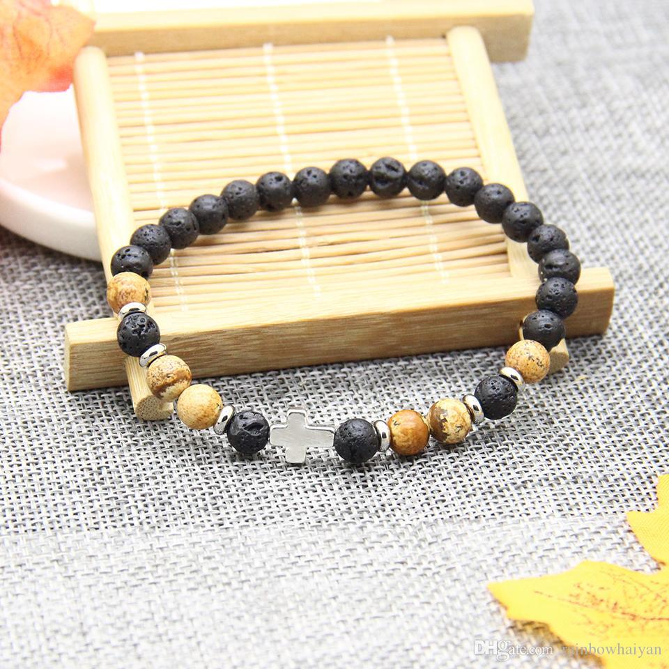 New Design Cross Beade Religious Bracelet Wholesale 10pcs/lot 6mm Best Quality Natural Stone Beads with Hematite Royal Cross Jesus Bracelets