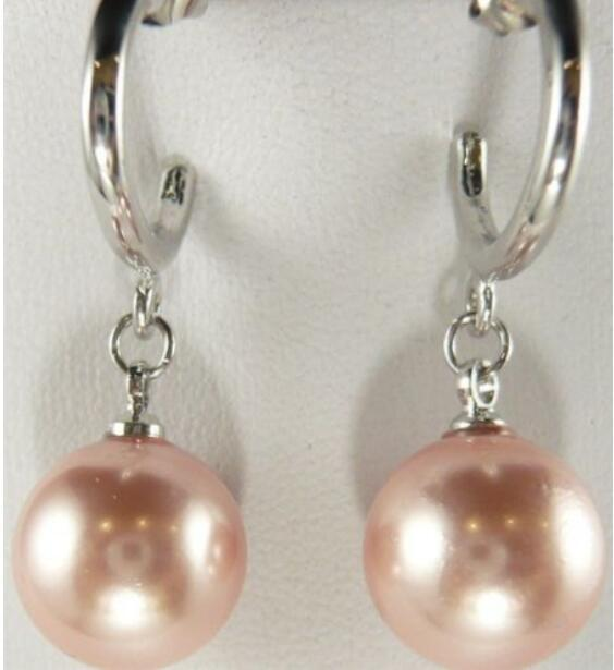 Jewelryr PEARL Earring Charming 12mm pink shell pearl earrings Free Shipping