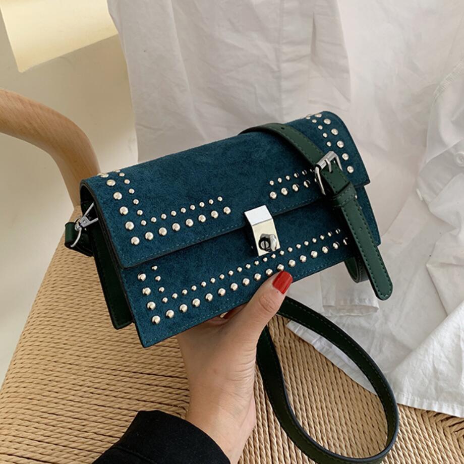 Retrò Moda Femminile Rivet borsa borsa blocco catena tracolla Messenger 2019 dell'unità di elaborazione di nuova alta qualità opaca di cuoio delle donne
