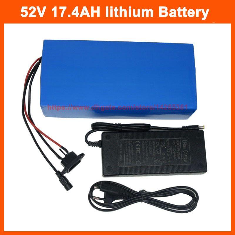 1500W 14S 52V 17AH Lithium-Batterie 51.8V 17.4AH Elektro-Fahrrad Ebike Batterie 29PF 18650 Zelle mit 30A BMS 58.8V 2A Charger