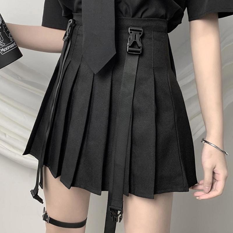 Rosetic 2020 Gothic Black Mini Suspender Pleated Skirt Women Summer New Goth Korean Fashion Preppy Style A Line Short Skirts
