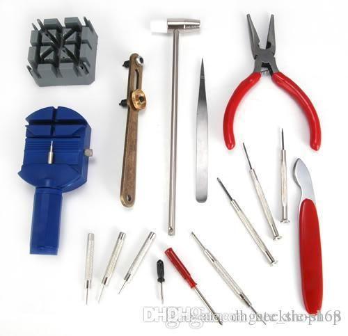 Nuevo Kit de herramientas de reparación de relojes 16pcs Banda Pin Pinza Enlace Remover Herramienta de eliminación de abridor trasero
