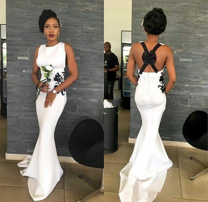 Black and White Long Bridesmaid Dresses 2020 Back Bow Lace Mermaid Satin Wedding Guest Evening Gowns Maid of Honor Dress