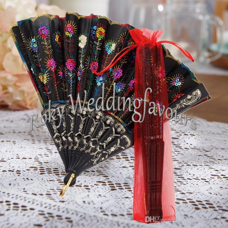 10PCS Plastic Rib Embroidered Peacock Hand Fan Lace Sequins Folding Flower Fan Wedding Favors Event Cooling Fan Party GIfts Event Giveaways
