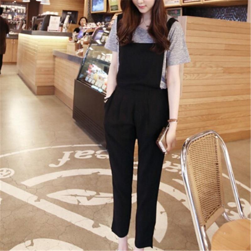 Nouveau Coton Jumpsuit Bracelet Sarouel Salopette en vrac Sarouel Pantalons Womens Pantalons simple en vrac lin