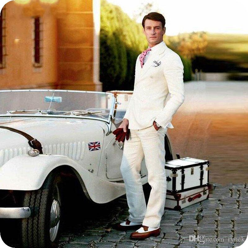 Linen Ivory Men Suits for Wedding Casual Groom Tuxedos Smart Groomsmen Blazers 2Piece Coat Pants Summer Beach Bridegroom Jacket Traje Hombre