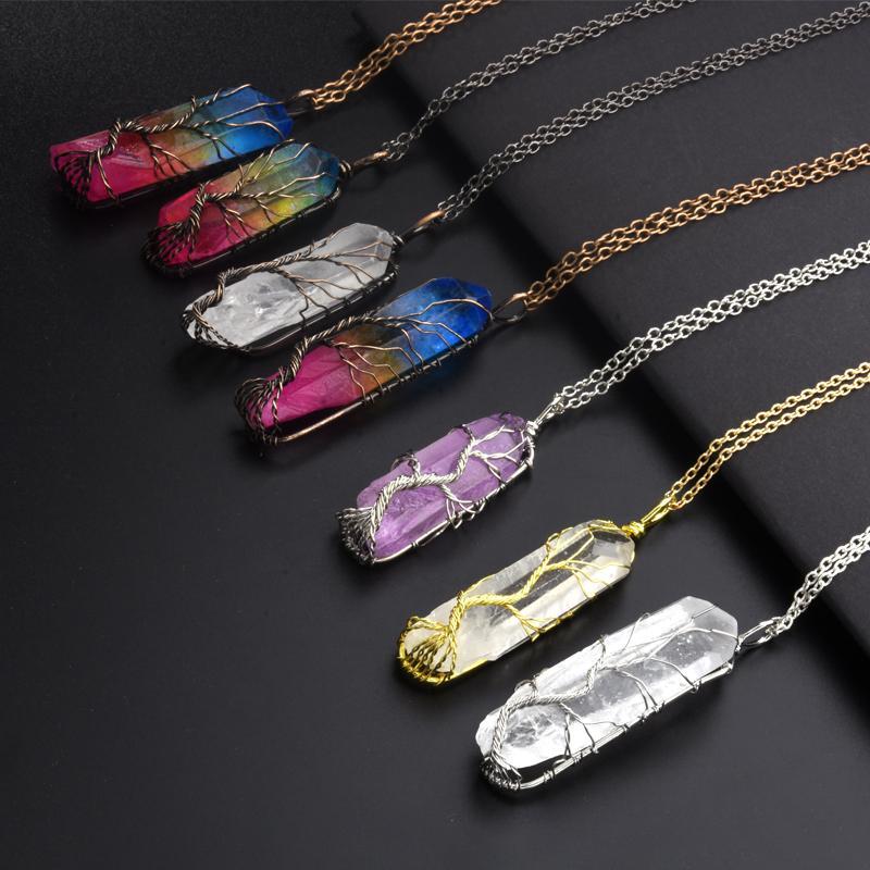 Nuevo collar hecho a mano 7Chakra Natural / Rainbow Stone árbol de la vida colgante para mujeres hombres declaración de cadena larga joyería regalo