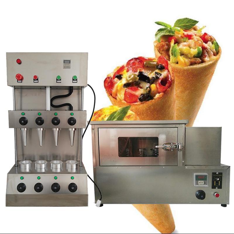 4 Kalıp Pizza Koni Makinesi Paslanmaz Çelik Koni Pizza Makinesi Makinesi Pizza Fırın Makinesi ile 4 Isıtma Çubukları Satmak