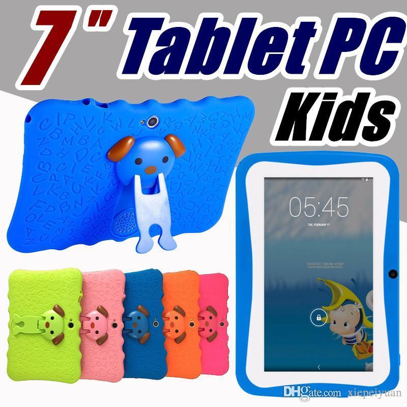 """الأطفال العلامة التجارية الكمبيوتر اللوحي 7 """"أطفال أقراص رباعية النواة الروبوت 4.4 ALLWINNER A33 جوجل لاعب واي فاي كبير المتحدثين الغطاء الواقي"""
