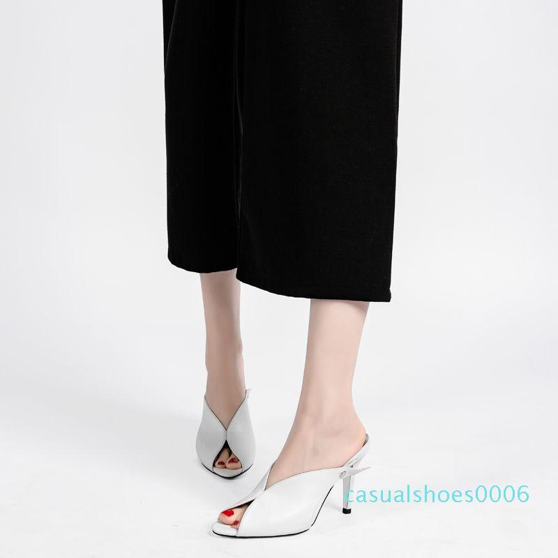 Mulheres Chinelos Feminino Salto Alto Confortável Toe Preto Peep Chinelos Calçados Femininos Fina salto sapatos casuais New Arrival DE c06