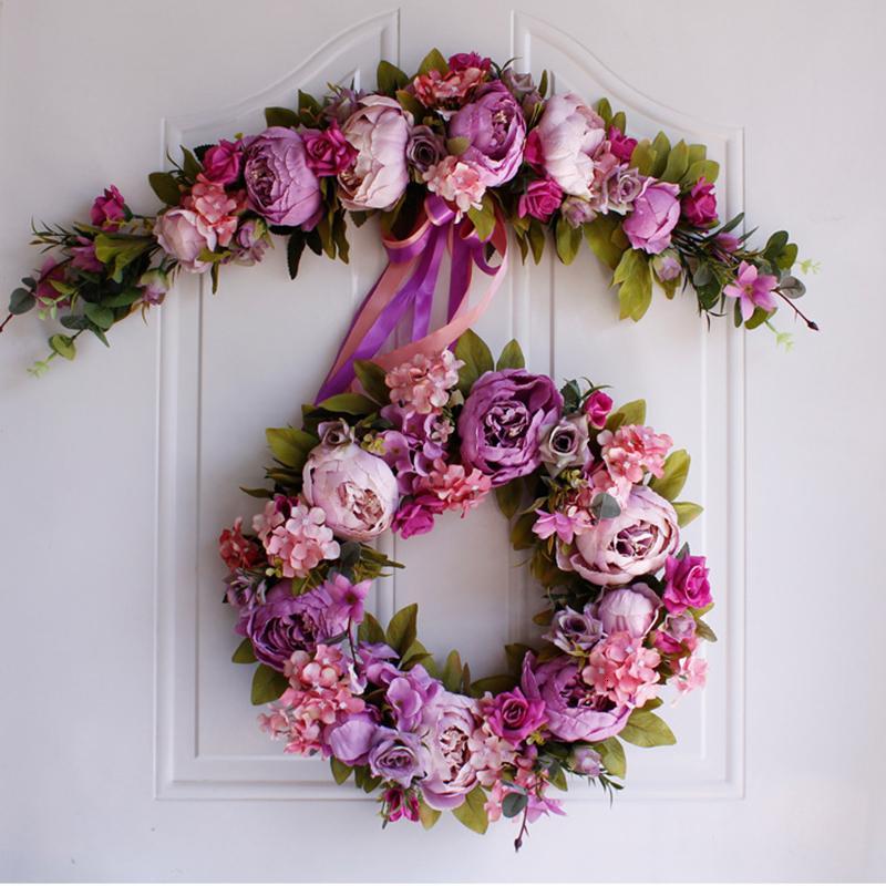 Düğün Noel Simülasyon DIY yapay çiçek çelenk çelenk seti kapı çelenk ev partisi bahçe dekorasyonu çelenk sahte çiçek T191102