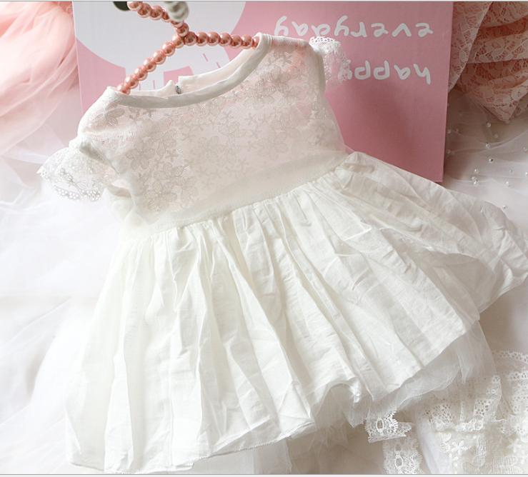 Prenses Kız Beyaz Dantel Romper elbise Yenidoğan Bebek Kız bebekler Kolsuz Romper Elbise Giyim Yaz Bebek Kız # zfg