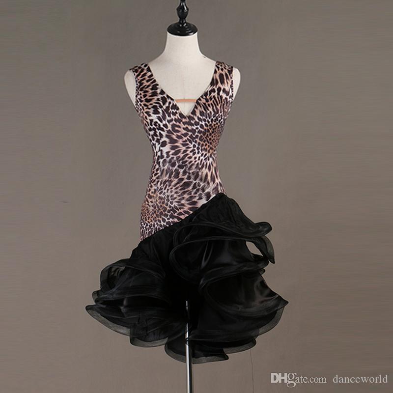 Leopardo personalizado Adulto Traje de Dança Latina Traje de Dança de Salão Vestido Trajes de Dança Jazz Traje de Tango Samba Mulher Competição Latina Vestido de Dança