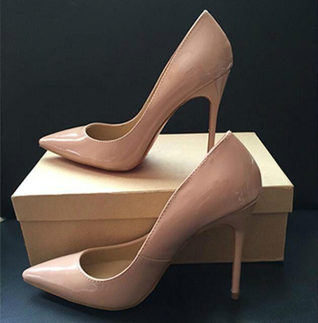 الشحن مجانا حتى كيت أنماط 8 سنتيمتر 10 سنتيمتر 12 سنتيمتر ارتفاع كعوب أحذية أحمر أسفل عارية اللون جلد طبيعي بوينت تو مضخات المطاط أحذية الزفاف