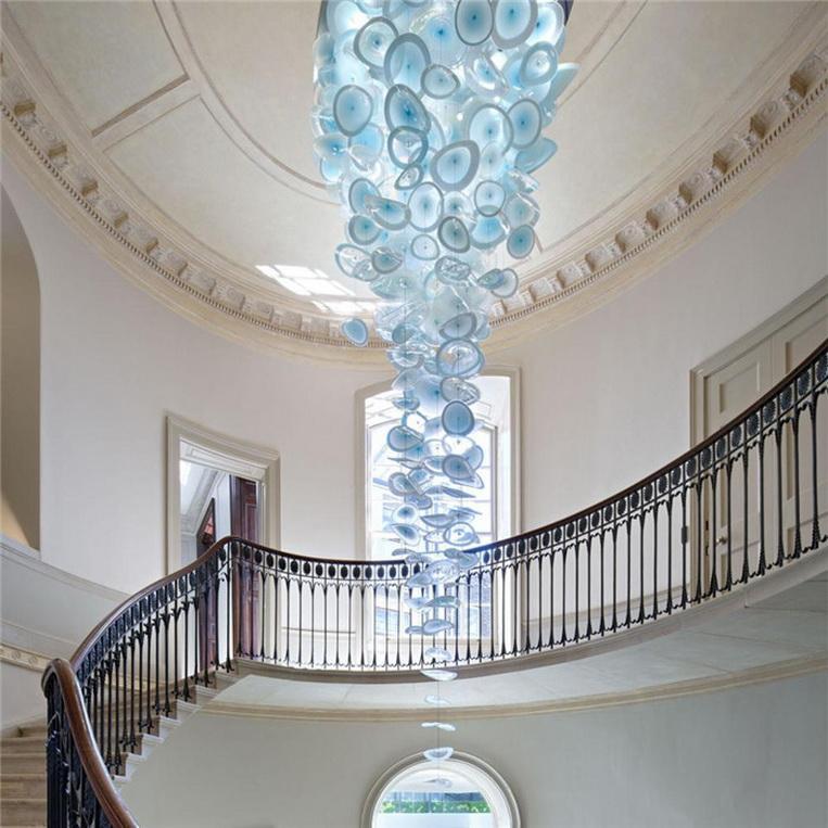 Trasporto libero popolare lastra di vetro soffiato a sospensione lampade Modern Art Hanging Murano Glass Chandelier Lighting 2020